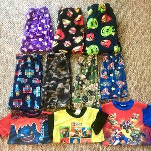 Lot of 10 Boys Pajamas Pants Shirt PJ Lounge 10/12